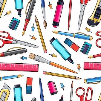文房具ツールのシームレスな背景。手描きイラスト。