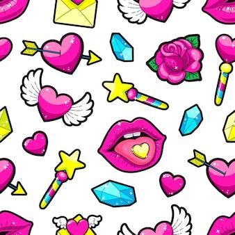 バレンタインデーのステッカーのシームレスな背景。