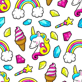 ユニコーン、虹、クリスタルのシームレスな背景。ベクトルイラスト