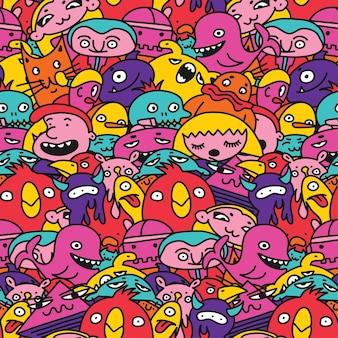 Бесшовные фоновый узор детские монстры персонажи векторные иллюстрации рисунки в мультяшном стиле