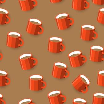Бесшовный фон с кружкой кофе. иллюстрации. проиллюстрировать.