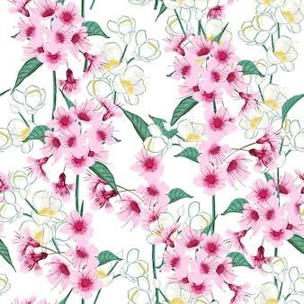 Seamless background pattern of pink Sakura