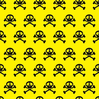Seamless  background pattern skulls. danger warning wallpaper.  illustrate.