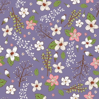 Seamless background pattern with pretty sprays and branches of hand painted flowers