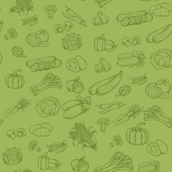 野菜とのシームレスな背景パターン