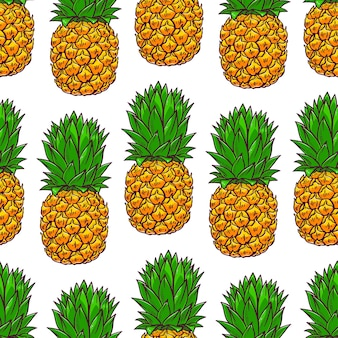 Seamless background of pineapples