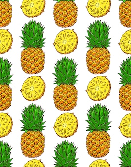 Seamless background of ripe pineapples. hand-drawn illustration