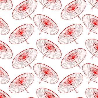 Seamless background of sketch beautiful red japanese umbrellas. hand-drawn illustration