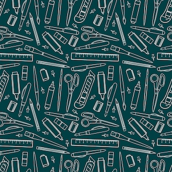 Seamless background of stationery tools. hand drawn illustration.