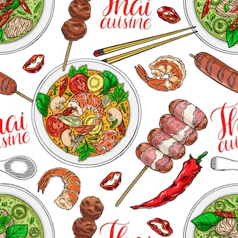 Seamless background of thai cuisine. tom yum kung, green curry, shrimps and chili. hand drawn illustration