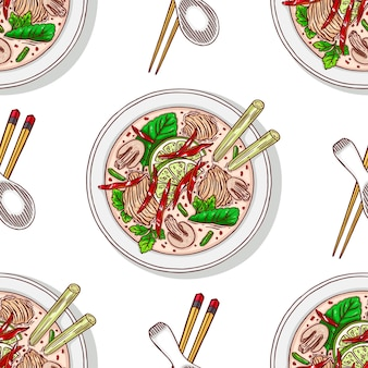 Seamless background of tom kha. appetizing traditional thai soup with chicken. hand-drawn illustration