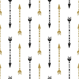 Seamless background of vintage arrow in black and gold colors. hand drawn arrows vector