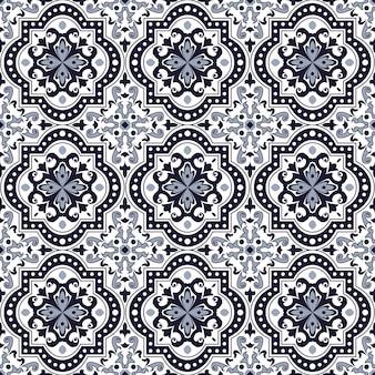 シームレスな背景、ビンテージブルートーンラウンド曲線正方形の万華鏡のパターン。