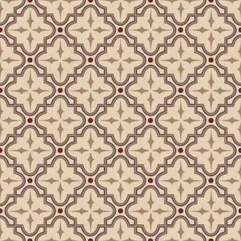 Seamless background, vintage brown cross round square geometry pattern.