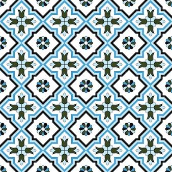 シームレスな背景、ヴィンテージクロス青い花の万華鏡のパターン。