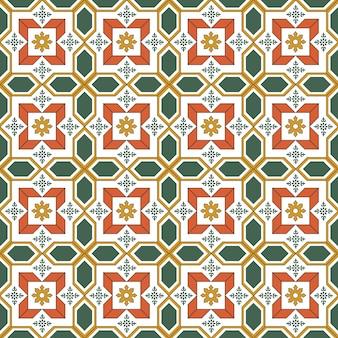 シームレスな背景、ヴィンテージクロスクロスグリーンオレンジフラワージオメトリパターン。