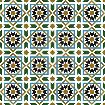 Seamless background, vintage cross square islam star geometry pattern.