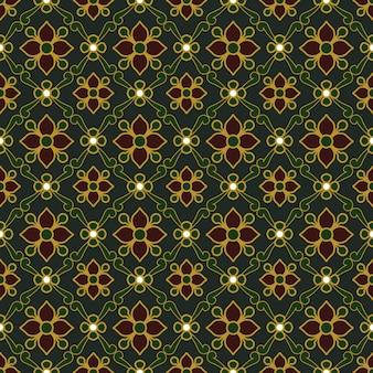 Seamless background, vintage dark green golden outline flower leaf pattern.