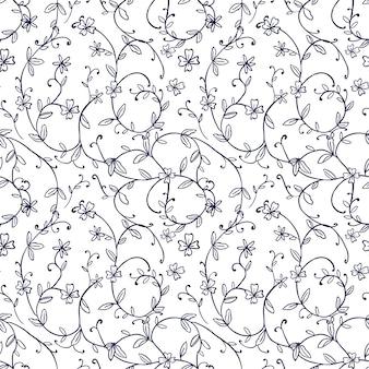 완벽 한 배경, 빈티지 자연 나선형 포도 나무 꽃 잎 패턴.
