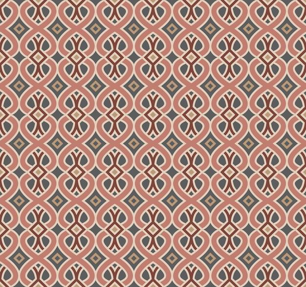 Seamless background, vintage pink curve cross line kaleidoscope pattern.