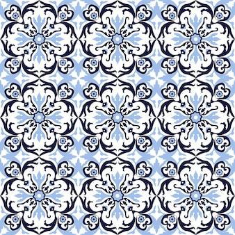 シームレスな背景、ビンテージスパイラルラウンド青い花の万華鏡のパターン。