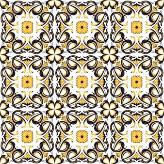 완벽 한 배경, 빈티지 나선형 라운드 곡선 사각형 꽃 만화경 패턴.