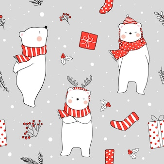 Seamless background white bear with red scarf in snow