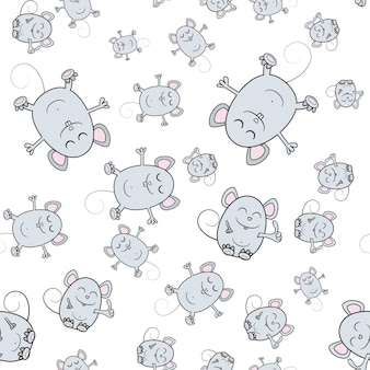 Seamless background with 2020 mouse symbol. cute mouse cartoon. vector illustration