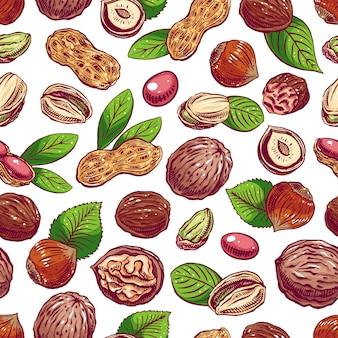 Бесшовный фон с разными орехами