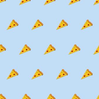 피자 한 조각과 함께 완벽 한 배경입니다. 플랫 스타일의 피자입니다. 끝없는 배경. 배경, 카드 및 포장 디자인에 좋습니다. 벡터.