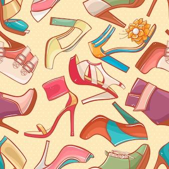 Бесшовный фон с различными цветными женскими туфлями на высоких каблуках