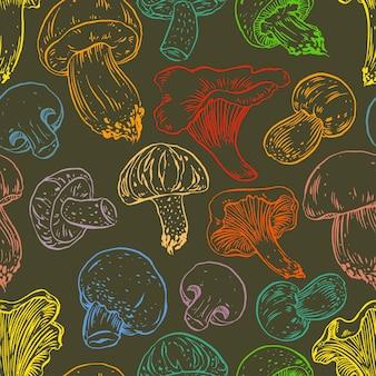 Бесшовный фон с различными красочными грибами. рисованная иллюстрация