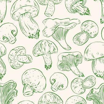 Бесшовный фон с различными грибами. рисованная иллюстрация