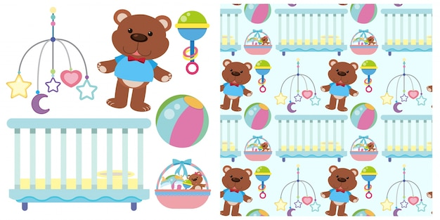 Seamless background with baby crib and toys