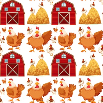 Seamless background with barn and chickens