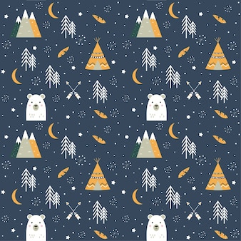 Seamless background with bear, wigwam, arrows, mountains and trees