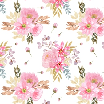 Seamless background with beautiful pink flowers