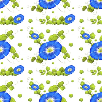 Seamless background with blue morning glory flowers illustration