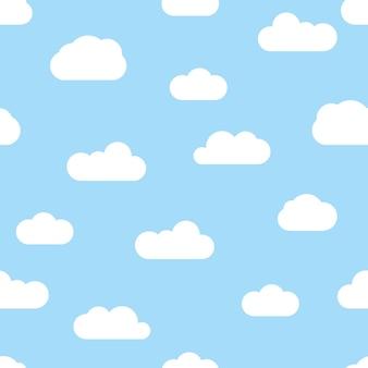 Бесшовный фон с голубым небом и белыми облаками мультфильм. векторная иллюстрация.