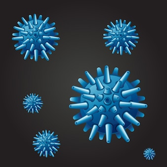 Seamless background with blue virus