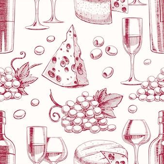 ボトルとグラスのワイン、ブドウ、チーズのシームレスな背景