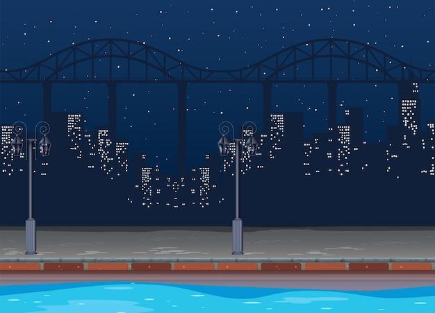 夜の街の建物とのシームレスな背景
