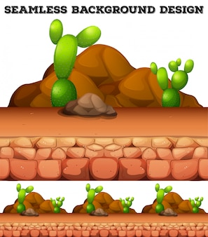 Seamless background with cactus and rocks