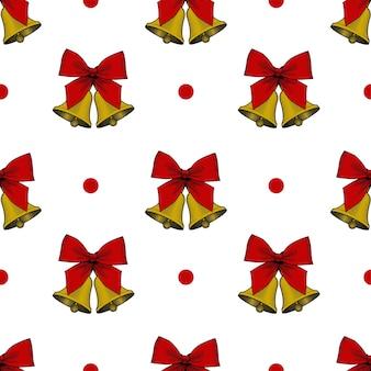 クリスマスの鐘とのシームレスな背景。お祝いの紙のデザイン。