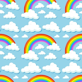 Seamless background with clouds and rainbows