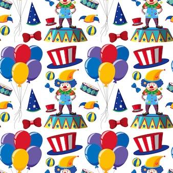 Бесшовный фон с клоунами и воздушными шарами