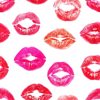 Seamless background with colorful lips prints on white background
