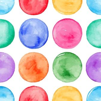 カラフルな水彩の丸いスポットとシームレスな背景