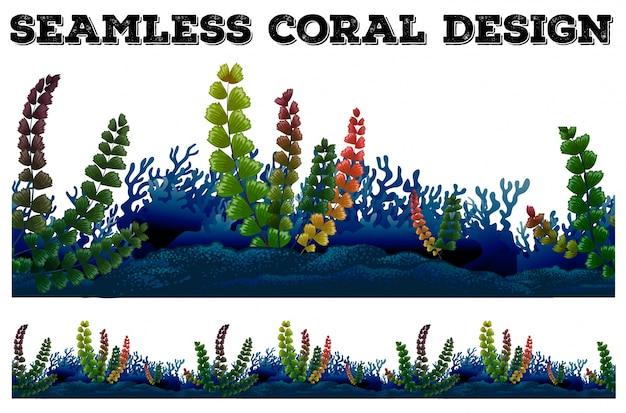 サンゴと海藻のシームレスな背景