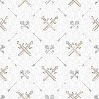 Бесшовный фон со скрещенными старыми ключами и мечами - узор для обоев, оберточной бумаги, книжного форзаца, конверта внутри и т. д.